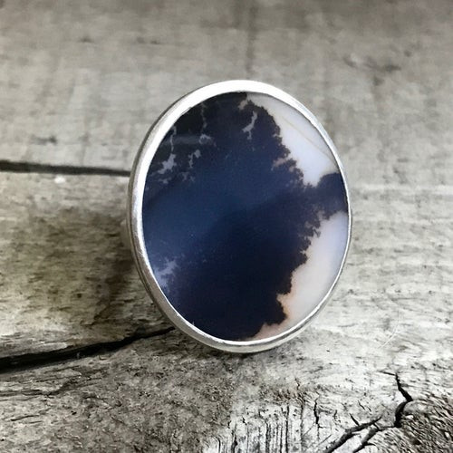 Elegant Black and White Dendrite Agate Sterling Silver Statement Ring
