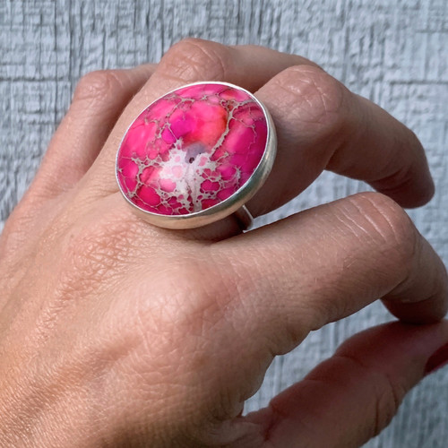 Large Round Pink Ocean Jasper Sediment Sterling Silver Statement Ring | Ocean Ring | Mermaid Jewelry