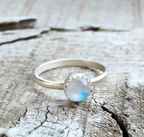 Small Dainty Round Moonstone Serrated Setting Sterling Silver Birthstone Ring | June Birthstone