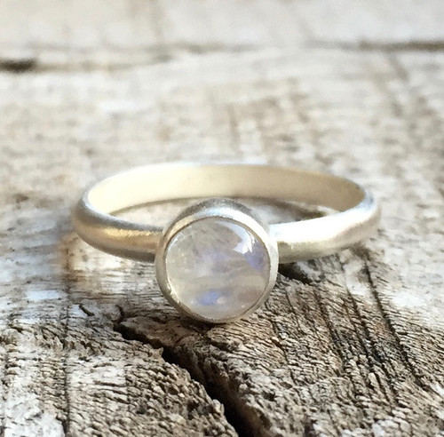 Copy of Small Dainty Elegant Round Moonstone Sterling Silver Birthstone Solitaire Ring