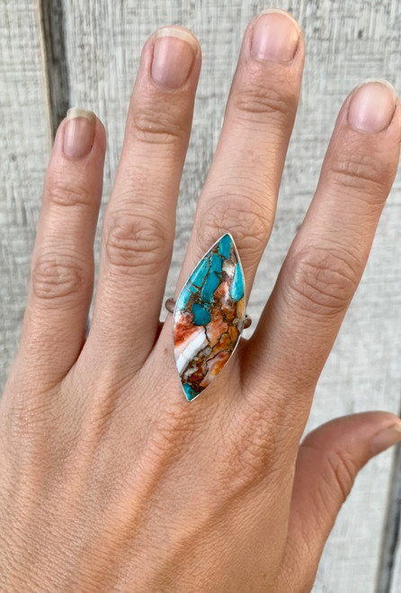 Large Marquise Copper Spiny Oyster Turquoise Sterling Silver Statement Ring