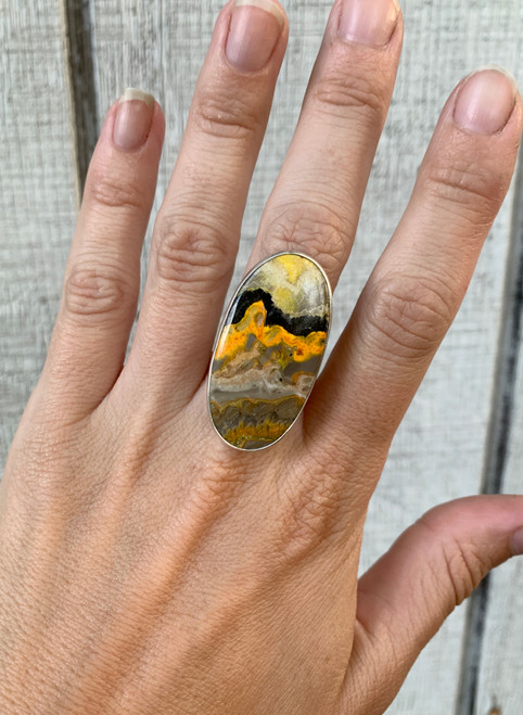 Large Oval Bumble Bee Jasper Sterling Silver Statement Ring | Size 8