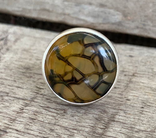 Yellow Black Dragon Agate Sterling Silver Ring