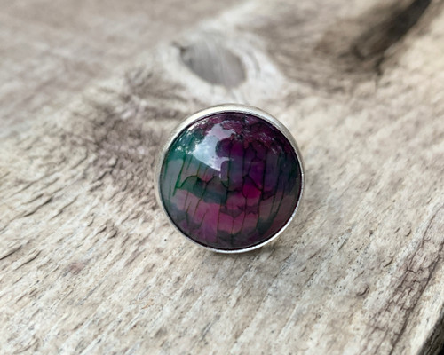 Large Round Pink Purple Green Dragon Agate Sterling Silver Statement Ring |  Feather Agate Ring