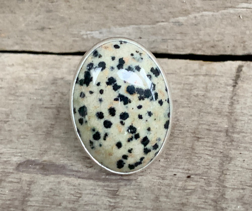 Large Oval Dalmatian Jasper Black and Off White Spotted Sterling Silver Statement Ring