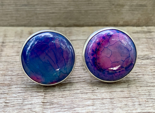 Large Round Pastel Purple Pink Blue Dragon Vein Agate Sterling Silver Fantasy Ring