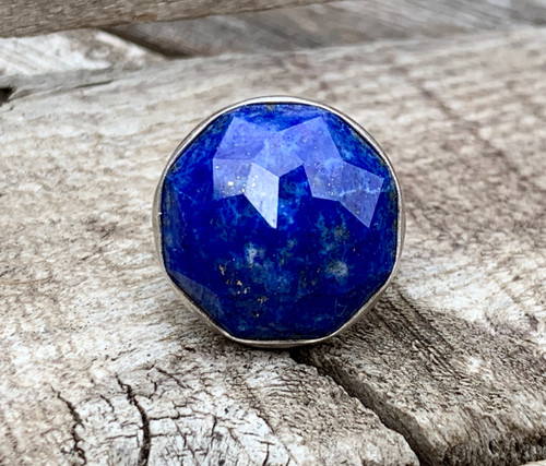 Stunning Large Round Cobalt Blue Faceted Lapis Lazuli Sterling Silver Statement Ring