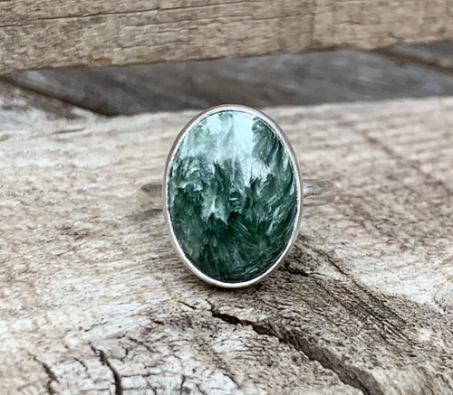 Elegant Luminescent Oval Green and White Seraphinite Sterling Silver Solitaire Ring