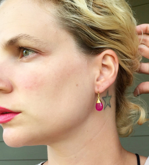 Dainty Elegant Fuchsia Pink Jade Gold Plated Wire Wrapped Dangle Gold Earrings