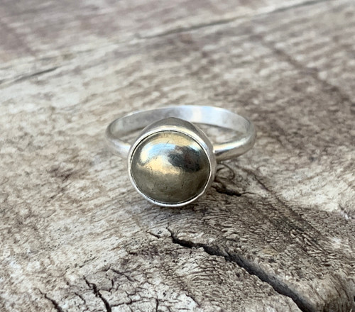 Dainty Elegant Golden Pyrite Round Sterling Silver Solitaire Ring | Golden Gemstone Ring | Boho