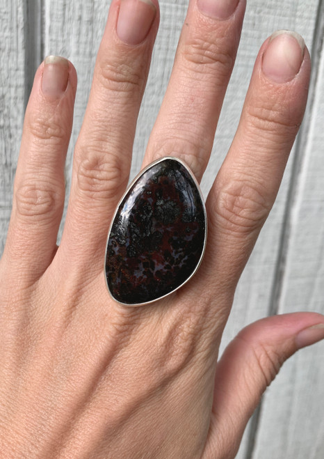 Large Burgundy Purple Silver Pyrite Psilomelane Fancy Cabochon Sterling Silver Statement Ring