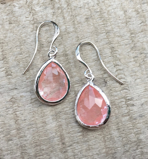 Romantic Teardrop Rhodium Wrapped Faceted Rose Cherry Quartz Earrings | Wedding | Bridesmaid Jewelry | Elegant Earring | Pink Earring