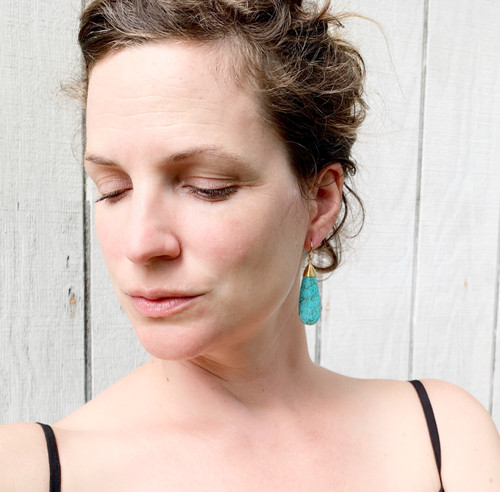 Large Boho Chic Blue Veined Tibetan Turquoise Teardrop Earrings
