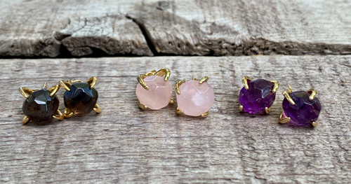 Pebble Faceted Smokey Quartz, Amethyst, or Rose Quartz Gold Plated Prong Stud Earrings | Gold Earrings | Amazonite Earrings | Amethyst Earrings | Gifts for Her