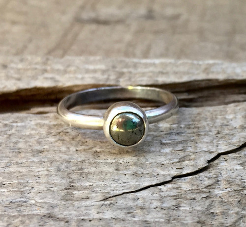 Elegant Minimalist Golden Pyrite Solitaire Sterling Silver Ring