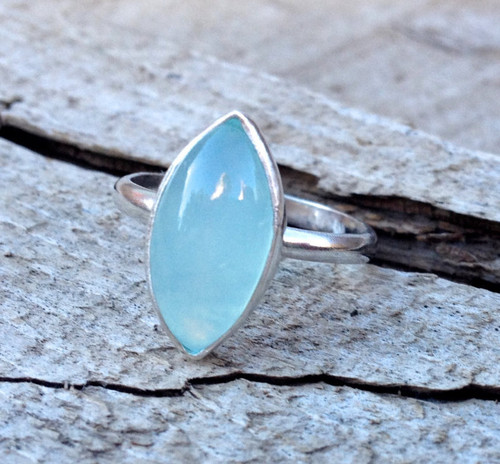 Elegant Astrological Marquise Aqua Chalcedony Sterling Silver Ring | Minimalist | Elegant | Chalcedony Ring | Blue Gemstone Ring | Boho