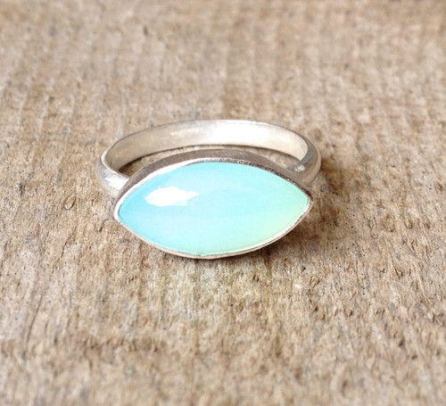 Astrological Marquise Aqua Chalcedony Sterling Silver Ring