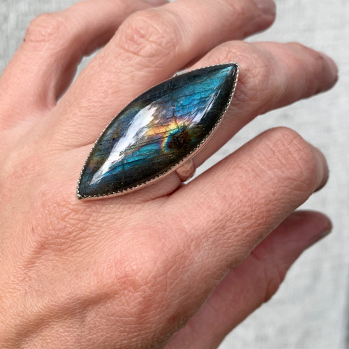 Incredible Flashy Rainbow Marquise Labradorite Sterling Silver Ring in Serrated Setting
