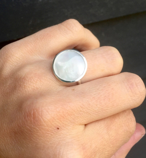 Elegant Minimalist Large 16mm Round White Mother of Pearl Boho Chic Sterling Silver Ring