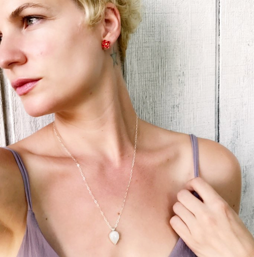 Faceted Teardrop White Moonstone Necklace | June Birthstone Necklace