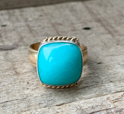 Elegant 14 Karat Gold Filled and Sterling Silver Cushion Cut Blue Amazonite Ring