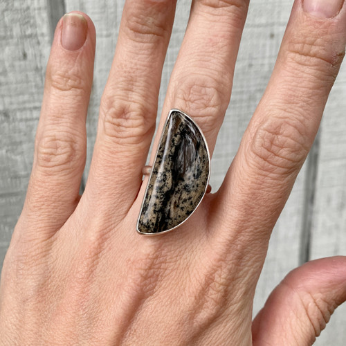 One of a Kind Brown and Black Dendrite Opal Agate Sterling Silver Ring