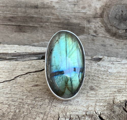 Stunning Bright Flashy Large Oval Labradorite Sterling Silver Statement Ring | Protection Stone