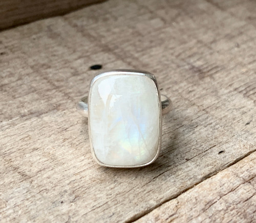 Elegant Cushion Cut White Rainbow Moonstone Sterling Silver Ring | June Birthstone | Zodiac Ring