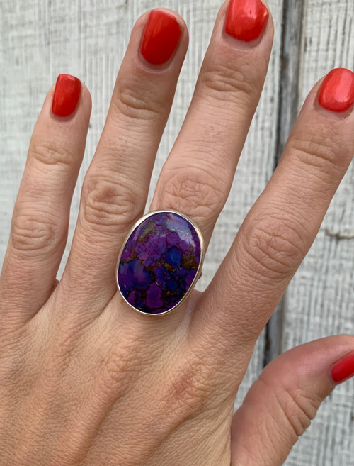 Large Oval Purple Copper and Blue Turquoise Sterling Silver Statement Ring