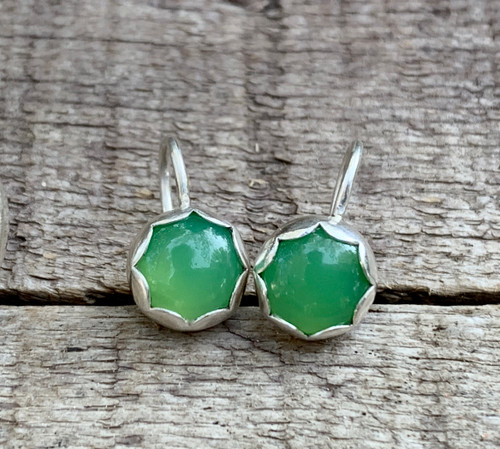 Bright Green Chrysoprase Scallop Setting Dangle Sterling Silver Earrings | Earrings | Wedding Jewelry | Flower Earrings | Chrysoprase Studs