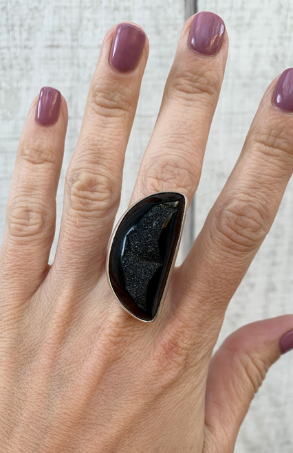 Witchy Half Moon Crescent Black Onyx Druzy Sterling Silver Statement Ring with Hammered Band