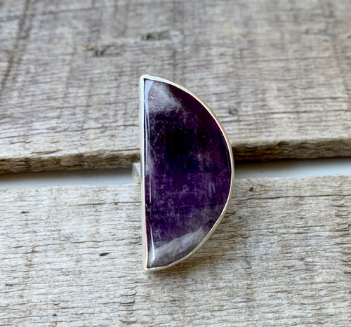 Elegant Half Moon Crescent Purple and White Lace Amethyst Sterling Silver Statement Ring with Hammered Ring Band