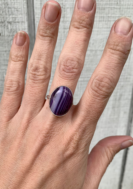 Large Oval Purple Brazilian Agate Sterling Silver Ring