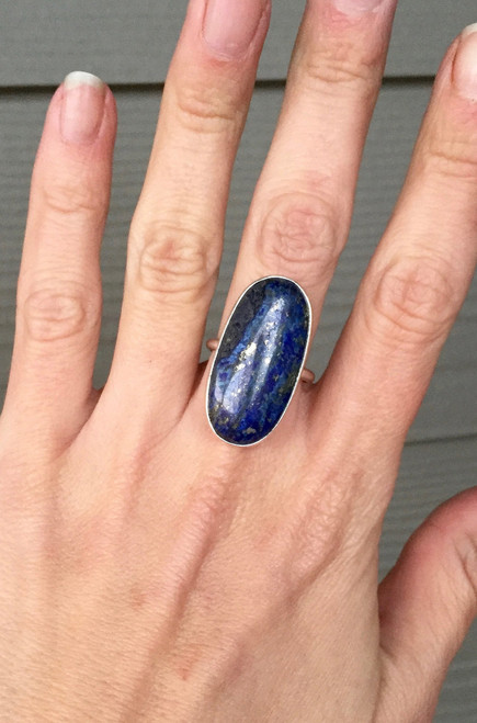 Lapis Lazuli Ring | Deep Blue Ring | Lapis Ring | Oval Ring | Bezel ring | Gemstone ring | Gift for Her | Boho | Rocker | Elongated Oval