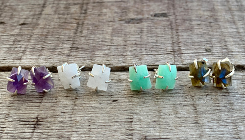 Elegant Rectangle Faceted Gemstone Prong Stud Earrings