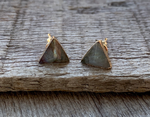 Geometric Triangle Labradorite 14 Karat Gold Electroplated Stud Earrings | Pyramid Earrings