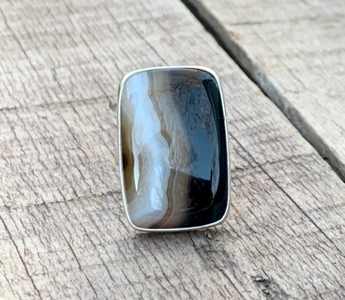 Large Rectangle Botswana Agate Striped Sterling Silver Statement Ring