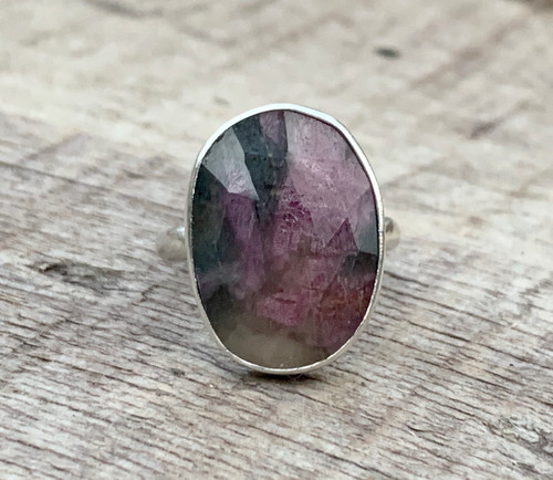 Multi Colored Large Oval Faceted Raw Sapphire Sterling Silver Ring