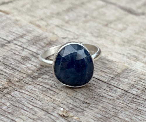 Elegant Free From Navy Blue Faceted Raw Sapphire Sterling Silver Solitaire Ring | Engagement Ring | September Birthstone Ring