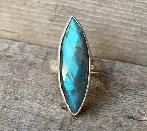 Large Faceted Marquise Flashy Blue Labradorite Sterling Silver | Protection Stone | Boho