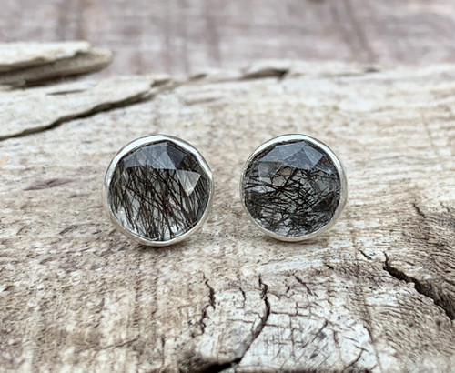 Faceted Black and Clear Rutilated Quartz Sterling Silver Stud Earrings