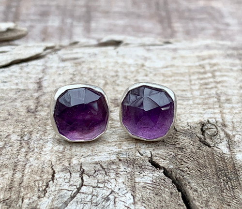 Faceted Cushion Cut Purple Amethyst Sterling Silver Rocker Stud Earrings