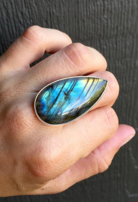 Stunning Flashy Pear Shaped or Teardrop Labradorite Geometric Ring in Sterling Silver | Statement Ring | Labradorite Ring