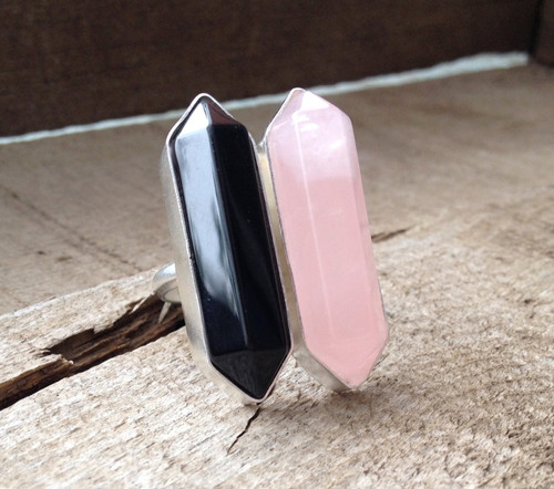 Glam Rock Hexagon Black Agate and Pink Rose Quartz Wand Double Terminated Point Ring in Sterling Silver