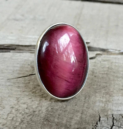 Luminescent Bright Fuchsia Pink Tiger Eye Sterling Silver Statement Ring
