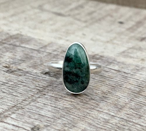 Teardrop Shaped Black and Green Emerald Sterling Silver Ring | May Birthstone Ring