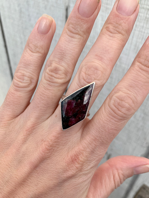 Edgy Geometric Diamond Dark Pink and Black Crystal Eudialyte Sterling Silver Statement Ring