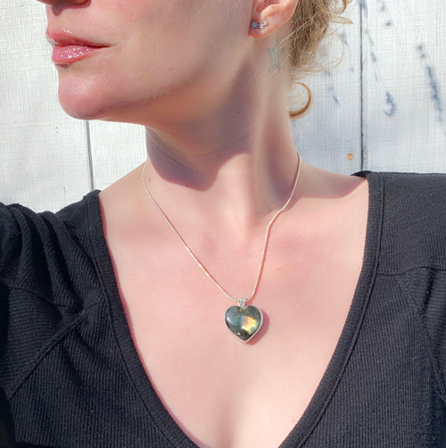 Romantic Heart Shaped Labradorite Sterling Silver Necklace