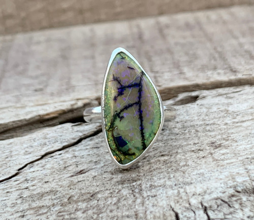 Stunning Bright Multi Colored Free Form Monarch Sterling Opal Chatoyant Gemstone Ring