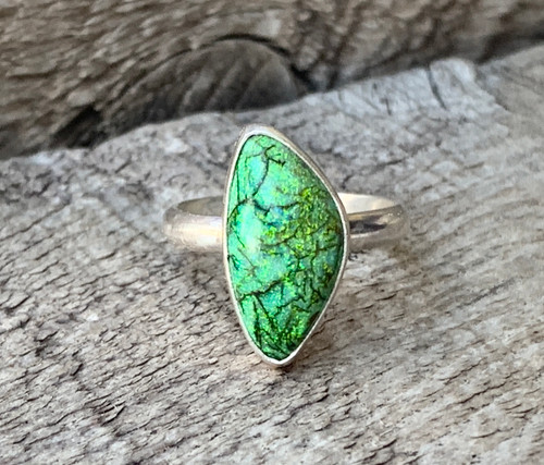 Dainty Bright Green Monarch Sterling Opal Sterling Silver Statement Ring | Opal Ring